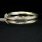 SALE Estate Heavy Sterling Twist Design Hinged Bangle Bracelet