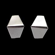 SALE Estate 14k White Gold Unique Angle Half Hoop Earrings for Pierced Ears
