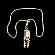 SOLD Art Deco Box Watch Chain Necklace with Onyx Pendant or Fob