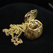 SALE Unique 1995 MFA Mechanical Fishing Basket Pendant Necklace