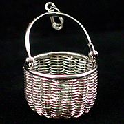 SALE Estate Large Woven Sterling Basket Pendant by American Scrimshaw Co.