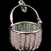 SALE Estate Large Woven Sterling Basket Pendant by American Scrimshaw Co.