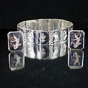 SALE Siam Sterling Black Enamel Panel Link Bracelet and Matching Earrings