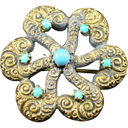 SALE Fabulous Victorian Love Knot Brooch with Turquoise and Repouse Design