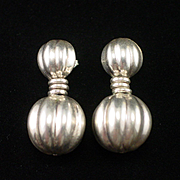 SALE Estate Unique Large Ribbed Dangle Sterling Earrings for Pierced Ears