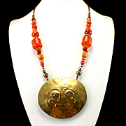 SALE Large 1996 Signed Julie Unruh Hammered Brass Face and Bead Necklace