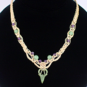SALE Unique Old Oriental Macrame Necklace with Jade and Amethyst