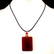 SALE Estate Carnelian & Cultured Pearl Pendant on Cord Necklace with 14k Clasp