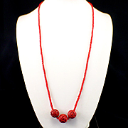 """SALE Early 32"""" Carved Cinnabar Bead Necklace"""