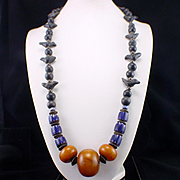 SALE Huge Unusual Ethnic Chain Strung Amber Trade Bead Stone Bird Fetish Necklace