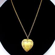 SALE Deco Pitman Keeler Heart Shape Locket Necklace