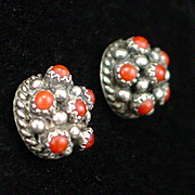 SALE Early Sterling Cannetille Coral Button Earrings with Post Back for Pierced Ears