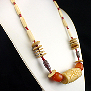 SALE Large Bold Carved Bone Amber Glass Ethnic Tribal Necklace