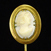 SALE Art Deco Very Detailed Carved Shell Cameo Stick Pin Stickpin