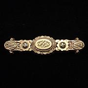 SALE Victorian Rose Gold Intricate Design Bar Pin Brooch