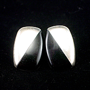 Larger Mexican Retro Sterling Onyx Geometric Post Earrings for Pierced Ears