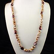 SALE Unique Estate Sterling Golden Blister Pearl Necklace Designer Signed