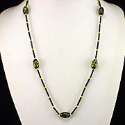 Unique Retro Black and Yellow Art Glass Bead Necklace