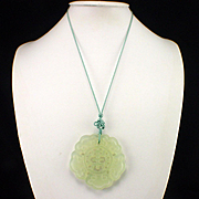 Large Carved Jade Medallion Pendant on Silk Cord Necklace