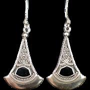 Retro Long Sterling Onyx Chandelier Earrings with Hook for Pierced Ears