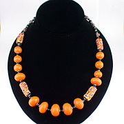 Large Bold Tribal Lucite and Glass Necklace