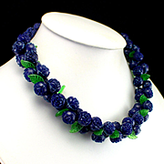 Unique Blue Retro Woven Cord Necklace with Carved Celluloid Flowers and Leaves