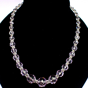 SALE PENDING Vintage Gold Filled Chain Strung Graduated Faceted Crystal Necklace