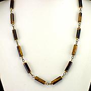 Vintage Genuine Tiger Eye Tube Link Necklace