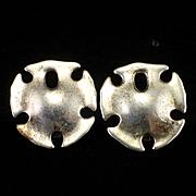 Vintage Modernist RLM Robert Lee Morris Sterling Sand Dollar Clip Earrings