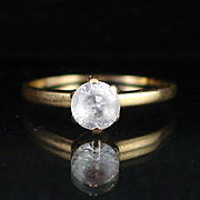 Retro 10k Yellow Gold Clear Spinel Solitaire Ring Size 8