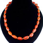 Early Large Carnelian Agate and Brass Bead Necklace