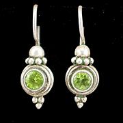 Vintage Sterling Peridot Dangle Earrings With Hook for Pierced Ears
