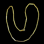 14k Yellow Gold 16 Inch Bar and Chain Necklace