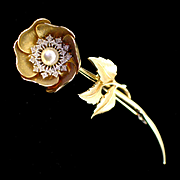 Large Signed and Numbered Boucher Rhinestone and Faux Pearl Flower Brooch Pin