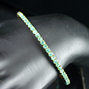 Retro Aqua Blue Rhinestone Bangle Bracelet