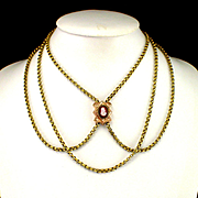 """Large Heavy Victorian 56"""" Belcher Chain with Hard Stone Cameo Slide"""