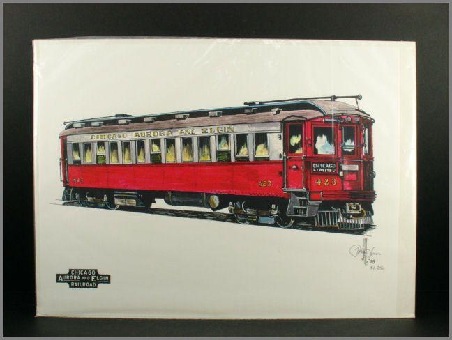 John Lass Signed Print #423 High Speed Interurban Rail Car