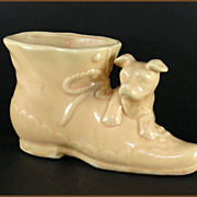 Shawnee Pottery Dog and Shoe Planter in Yellow