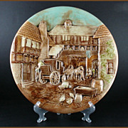 Mid Century Modern 3D Wall Plaque of a European Village Scene