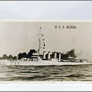U. S. S. Roper DD-147 Real Photo Post Card Free Frank Circa 1944