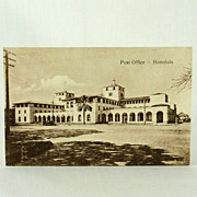 Hawaii and South Seas Curio Company Honolulu Post Office in Sepia