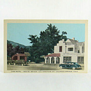 Mirrocolor Post Card of The Casa Motel Colorado Springs 1950's