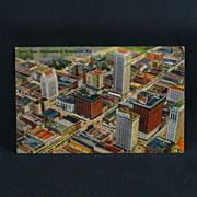 Birmingham Alabama Aerial View of Skyscrapers Linen Tichnor Card