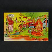 Curteich C. T. Line Comics Linen Post Card Circa 1949
