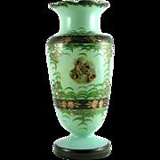 SALE Bristol Glass Vase Hand Painted Cherubs Mold Blown Glass