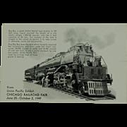 SALE Chicago Railroad Fair Post Card of Union Pacific Big Boy