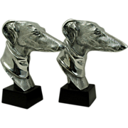 SALE Elegant Champion Greyhound Bookends in Silver Finish