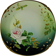 SALE Silesia Hand Painted and Signed Rose Plate
