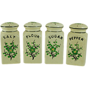 Moriyama Ming Tree Green Cherry Blossom Shaker Set C. 1920