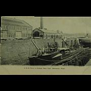 Collotype Post Card of U.S.S. Perry in Drydock Bremerton Washington